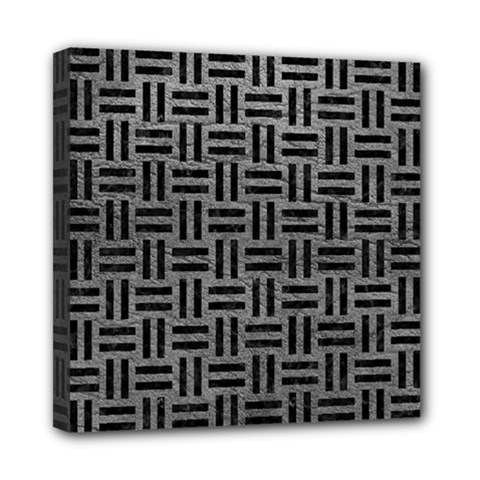 Woven1 Black Marble & Gray Leather (r) Mini Canvas 8  X 8  by trendistuff