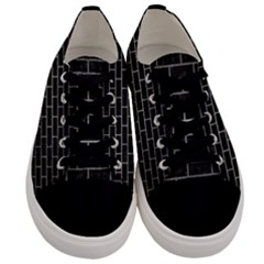 Brick1 Black Marble & Gray Metal 1 Men s Low Top Canvas Sneakers