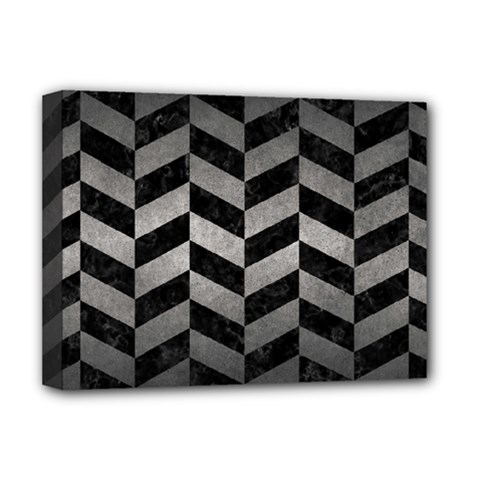 Chevron1 Black Marble & Gray Metal 1 Deluxe Canvas 16  X 12   by trendistuff