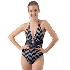 Chevron1 Black Marble & Gray Metal 1 Halter Cut Out One Piece Swimsuit