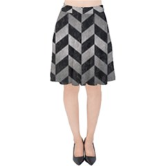 Chevron1 Black Marble & Gray Metal 1 Velvet High Waist Skirt by trendistuff