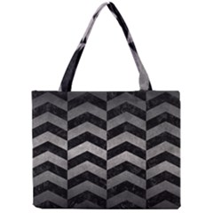 Chevron2 Black Marble & Gray Metal 1 Mini Tote Bag by trendistuff