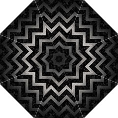 Chevron9 Black Marble & Gray Metal 1 Folding Umbrellas by trendistuff