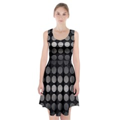 Circles1 Black Marble & Gray Metal 1 Racerback Midi Dress