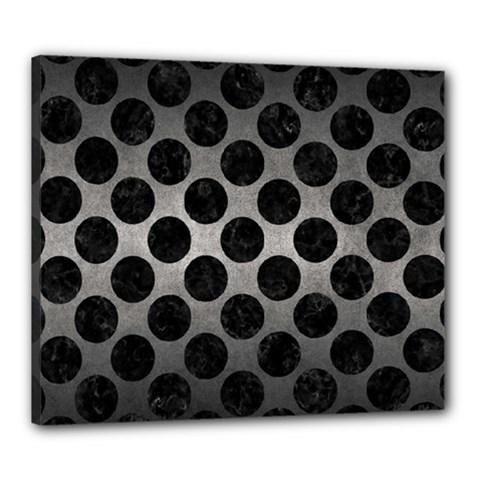 Circles2 Black Marble & Gray Metal 1 (r) Canvas 24  X 20  by trendistuff