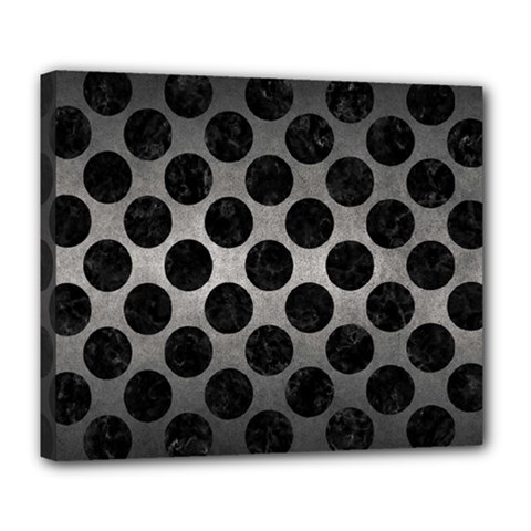 Circles2 Black Marble & Gray Metal 1 (r) Deluxe Canvas 24  X 20   by trendistuff