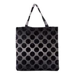 Circles2 Black Marble & Gray Metal 1 (r) Grocery Tote Bag by trendistuff