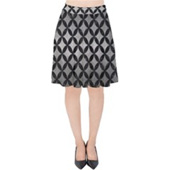 Circles3 Black Marble & Gray Metal 1 (r) Velvet High Waist Skirt by trendistuff