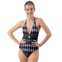 Diamond1 Black Marble & Gray Metal 1 Halter Cut Out One Piece Swimsuit
