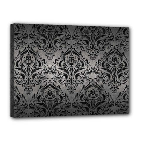 Damask1 Black Marble & Gray Metal 1 (r) Canvas 16  X 12  by trendistuff