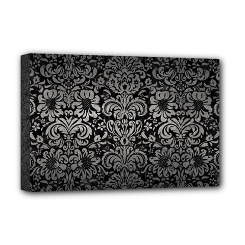 Damask2 Black Marble & Gray Metal 1 Deluxe Canvas 18  X 12   by trendistuff