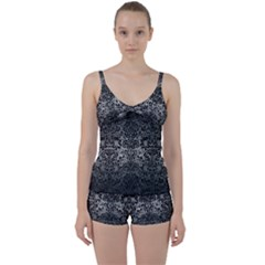 Damask2 Black Marble & Gray Metal 1 (r) Tie Front Two Piece Tankini