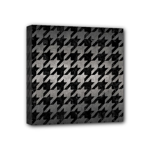 Houndstooth1 Black Marble & Gray Metal 1 Mini Canvas 4  X 4  by trendistuff