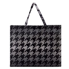 Houndstooth1 Black Marble & Gray Metal 1 Zipper Large Tote Bag