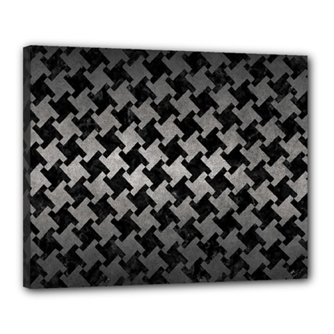 Houndstooth2 Black Marble & Gray Metal 1 Canvas 20  X 16  by trendistuff
