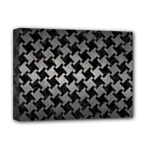 Houndstooth2 Black Marble & Gray Metal 1 Deluxe Canvas 16  X 12   by trendistuff