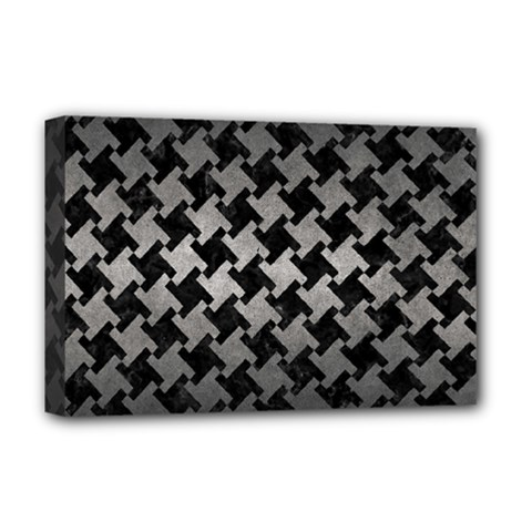 Houndstooth2 Black Marble & Gray Metal 1 Deluxe Canvas 18  X 12   by trendistuff