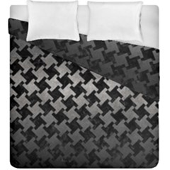 Houndstooth2 Black Marble & Gray Metal 1 Duvet Cover Double Side (king Size) by trendistuff