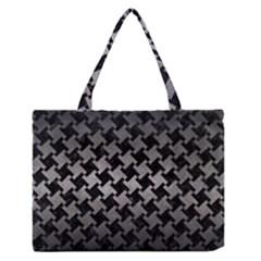 Houndstooth2 Black Marble & Gray Metal 1 Zipper Medium Tote Bag by trendistuff