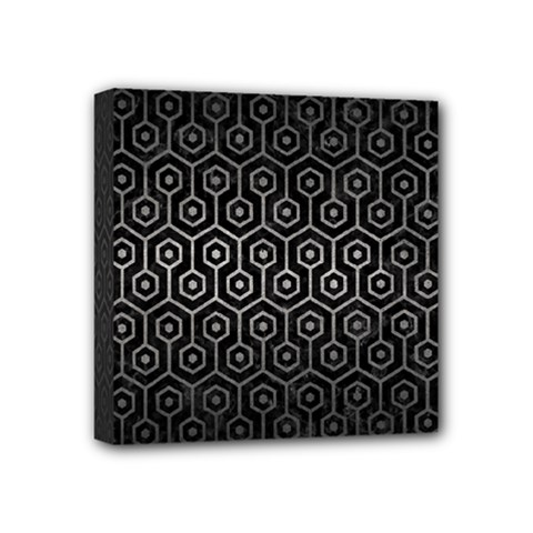 Hexagon1 Black Marble & Gray Metal 1 Mini Canvas 4  X 4  by trendistuff