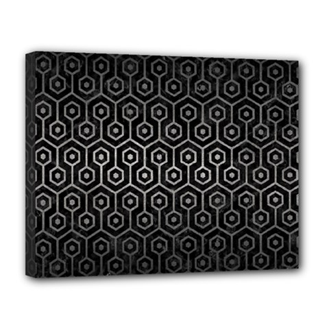 Hexagon1 Black Marble & Gray Metal 1 Canvas 14  X 11  by trendistuff