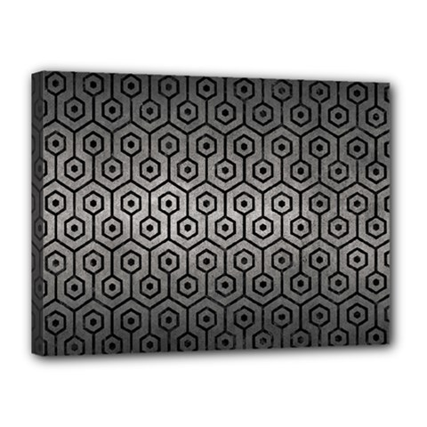 Hexagon1 Black Marble & Gray Metal 1 (r) Canvas 16  X 12  by trendistuff
