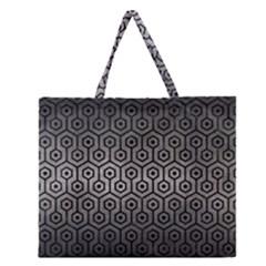 Hexagon1 Black Marble & Gray Metal 1 (r) Zipper Large Tote Bag by trendistuff