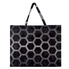 Hexagon2 Black Marble & Gray Metal 1 Zipper Large Tote Bag