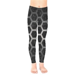 Hexagon2 Black Marble & Gray Metal 1 Kids  Legging by trendistuff