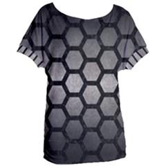 Hexagon2 Black Marble & Gray Metal 1 (r) Women s Oversized Tee
