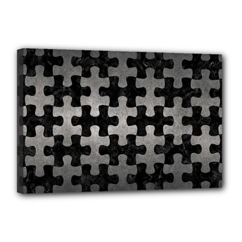 Puzzle1 Black Marble & Gray Metal 1 Canvas 18  X 12  by trendistuff