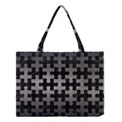 Puzzle1 Black Marble & Gray Metal 1 Medium Tote Bag by trendistuff