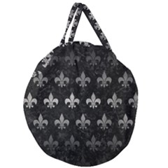 Royal1 Black Marble & Gray Metal 1 (r) Giant Round Zipper Tote