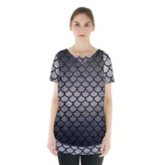 Scales1 Black Marble & Gray Metal 1 (r) Skirt Hem Sports Top by trendistuff