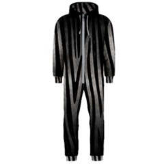 Skin4 Black Marble & Gray Metal 1 Hooded Jumpsuit (men)
