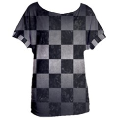 Square1 Black Marble & Gray Metal 1 Women s Oversized Tee