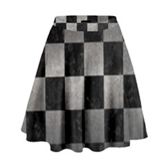 Square1 Black Marble & Gray Metal 1 High Waist Skirt by trendistuff