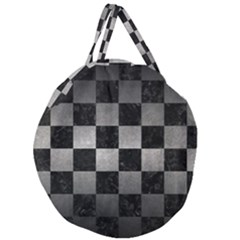 Square1 Black Marble & Gray Metal 1 Giant Round Zipper Tote by trendistuff