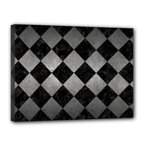 Square2 Black Marble & Gray Metal 1 Canvas 16  X 12  by trendistuff