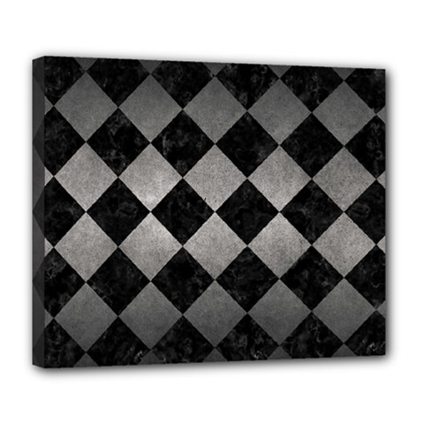 Square2 Black Marble & Gray Metal 1 Deluxe Canvas 24  X 20   by trendistuff