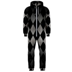 Square2 Black Marble & Gray Metal 1 Hooded Jumpsuit (men)