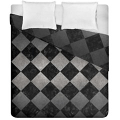 Square2 Black Marble & Gray Metal 1 Duvet Cover Double Side (california King Size) by trendistuff