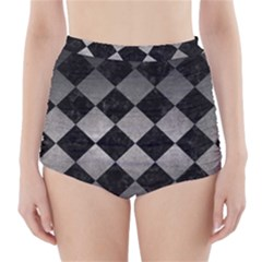 Square2 Black Marble & Gray Metal 1 High Waisted Bikini Bottoms