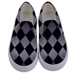 Square2 Black Marble & Gray Metal 1 Kids  Canvas Slip Ons