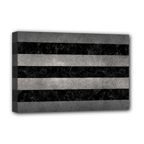 Stripes2 Black Marble & Gray Metal 1 Deluxe Canvas 18  X 12   by trendistuff