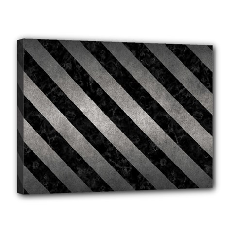 Stripes3 Black Marble & Gray Metal 1 (r) Canvas 16  X 12  by trendistuff