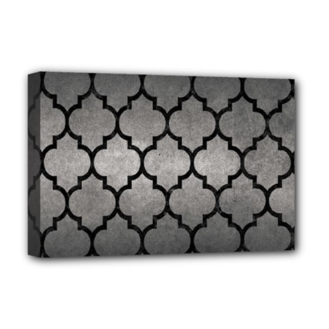 Tile1 Black Marble & Gray Metal 1 (r) Deluxe Canvas 18  X 12   by trendistuff