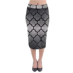 Tile1 Black Marble & Gray Metal 1 (r) Midi Pencil Skirt