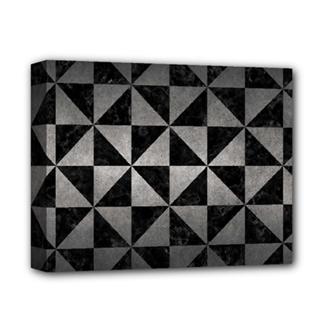 Triangle1 Black Marble & Gray Metal 1 Deluxe Canvas 14  X 11  by trendistuff