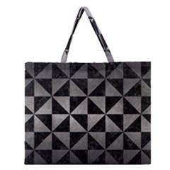 Triangle1 Black Marble & Gray Metal 1 Zipper Large Tote Bag by trendistuff